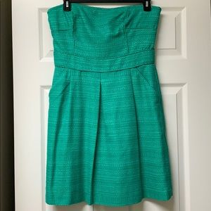 Banana Republic strapless green dress w/pockets